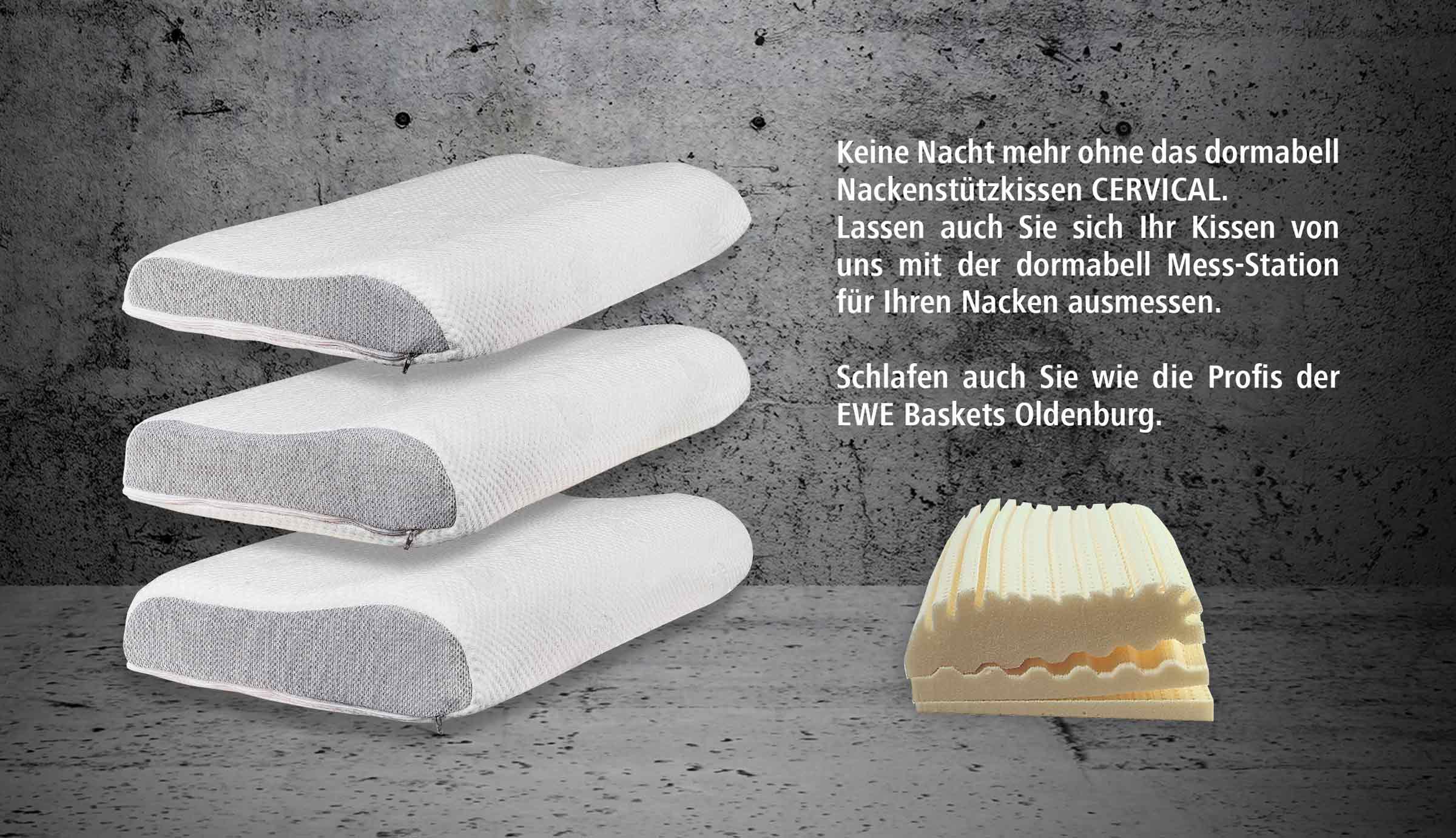 Unsere Dormabell-Nackenstützkissen. Schlafen wie die Profis der EWE-Baskets!